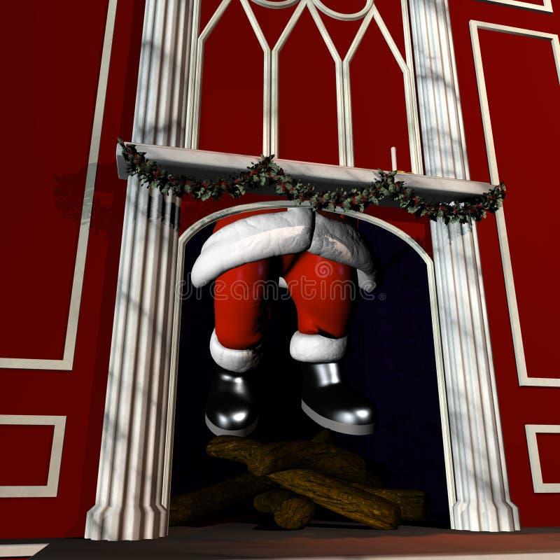 Kerstman die onderaan Schoorsteen 5 gaan vector illustratie