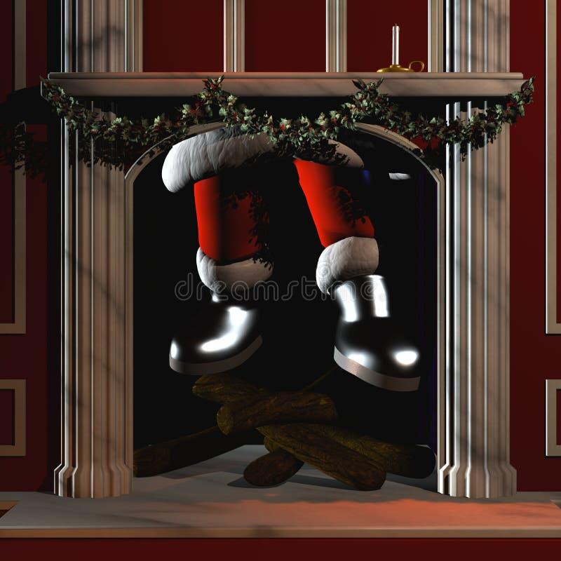 Kerstman die onderaan Schoorsteen 5 gaan royalty-vrije illustratie