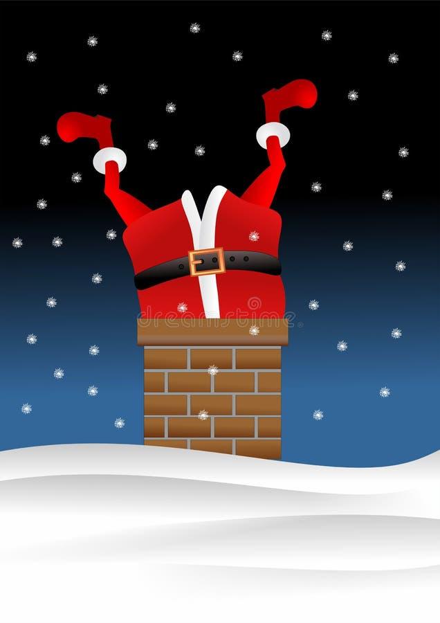 Kerstman die onderaan schoorsteen gaan vector illustratie