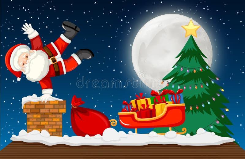 Kerstman die onderaan schoorsteenscène gaan stock illustratie