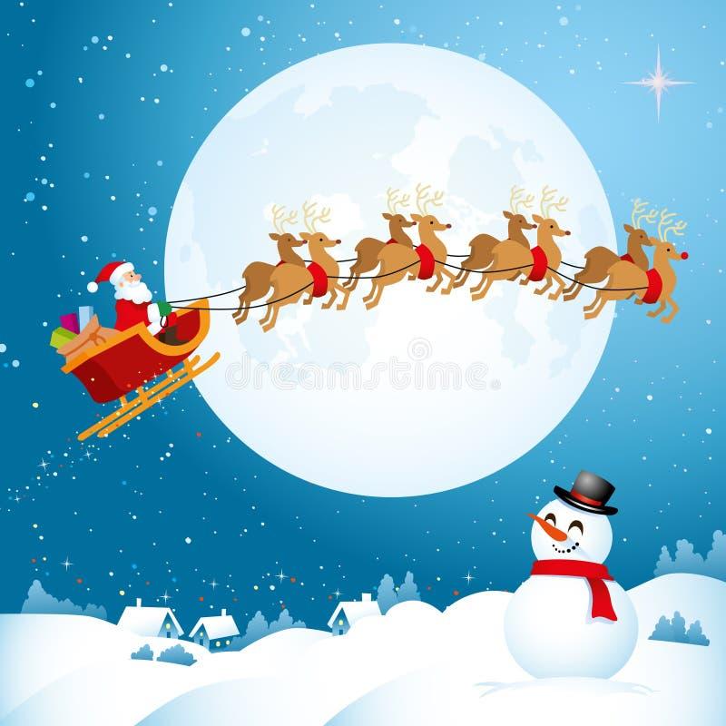 Kerstman die over de Nachthemel vliegen royalty-vrije illustratie