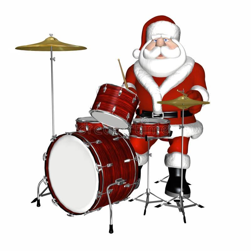 Kerstman die Trommels 1 spelen royalty-vrije illustratie