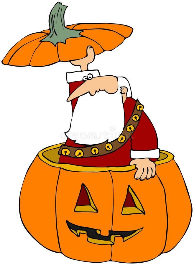 Kerstman die uit een Gesneden Pompoen porren vector illustratie