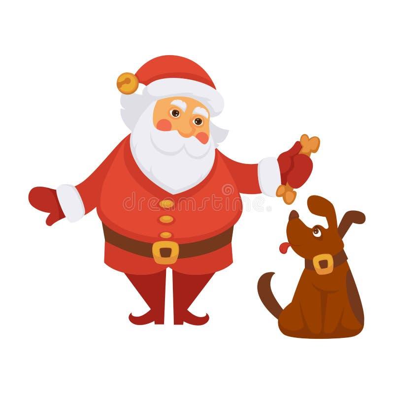 Kerstman die van het Kerstmisleven van het hondhuisdier het dagelijkse van het het beeldverhaalkarakter vector vlakke pictogram s royalty-vrije illustratie