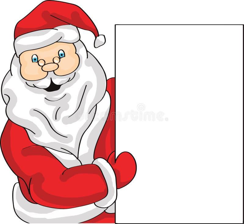 Kerstman die vertoningsbanner aan kant houden royalty-vrije stock afbeelding