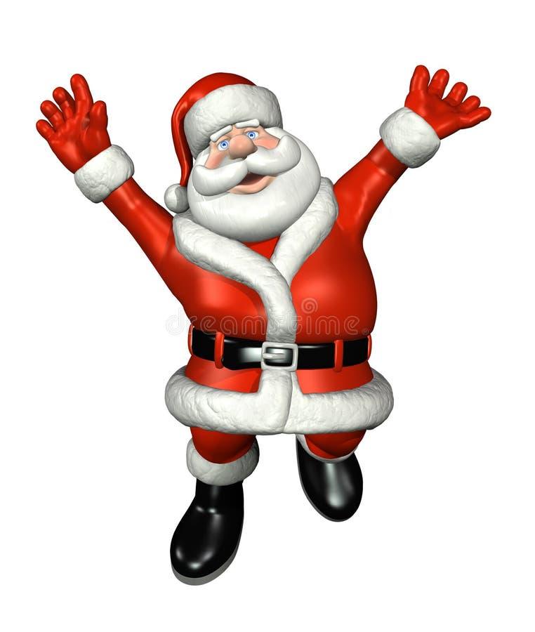 Kerstman die voor Vreugde springen stock illustratie
