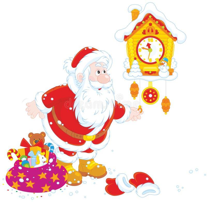 Kerstman die zijn koekoek-klok beëindigen vector illustratie