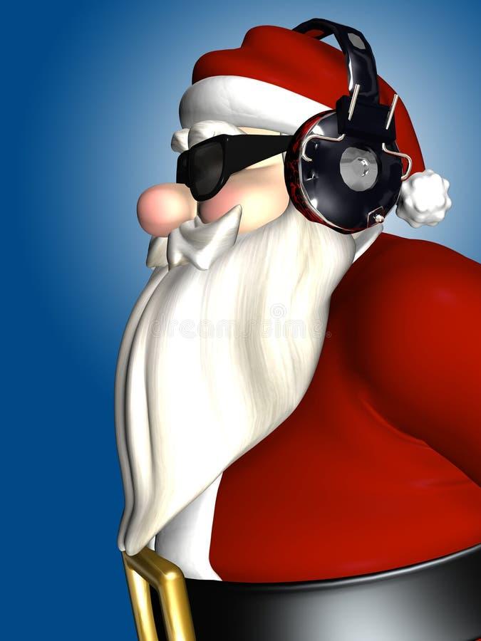 Kerstman DJ - Hoofdtelefoons stock illustratie