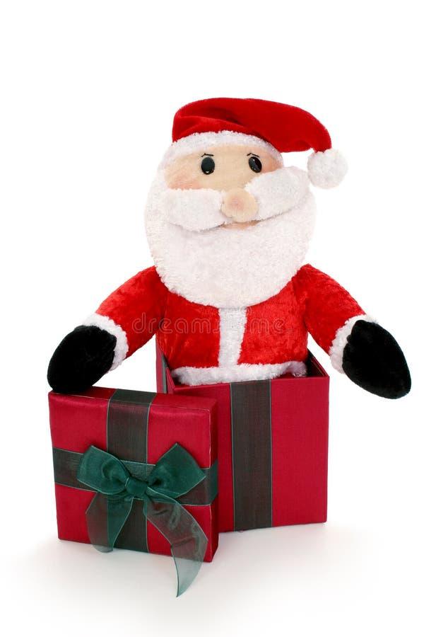 Kerstman in een Doos stock afbeelding