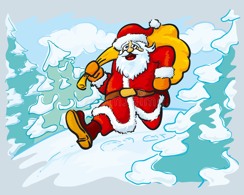 Kerstman in een haast royalty-vrije illustratie