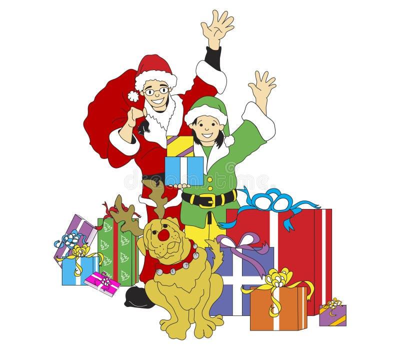 Kerstman, Elf, & Reindog stock foto's