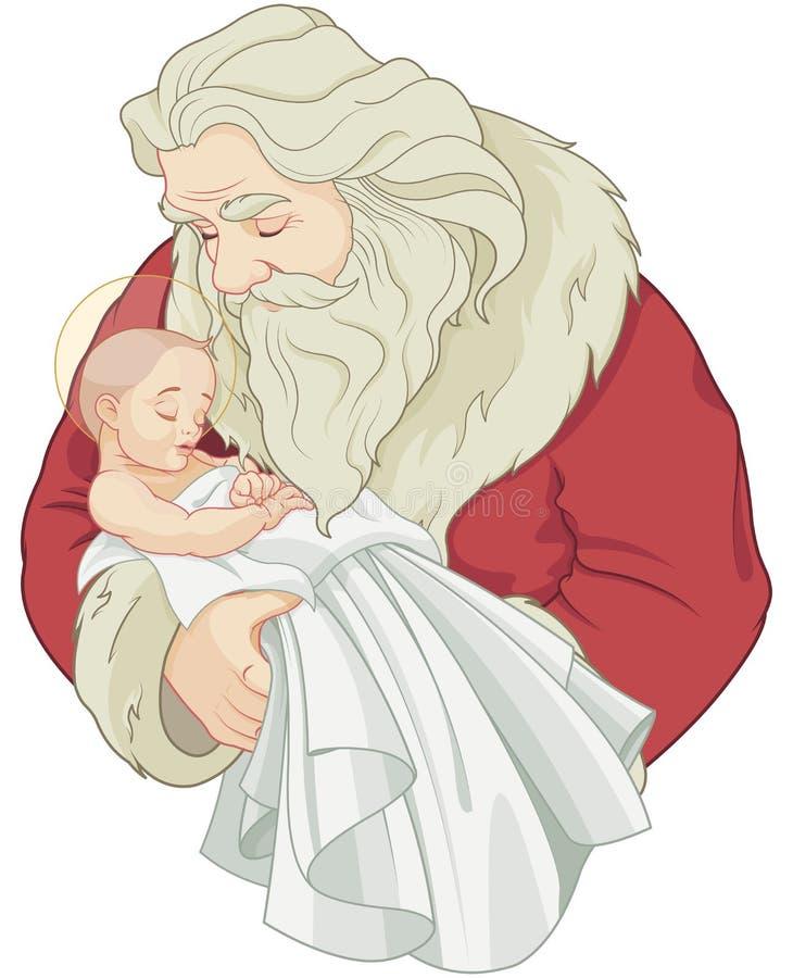 Kerstman en Baby Jesus vector illustratie