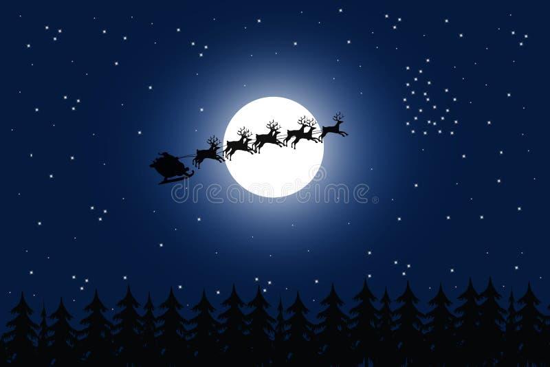 Kerstman en bos vector illustratie