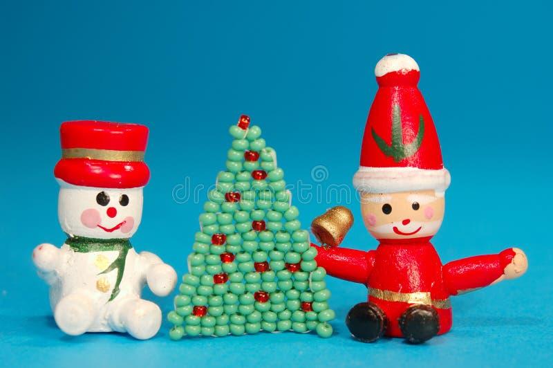 Kerstman en de Mens van de Sneeuw stock foto's