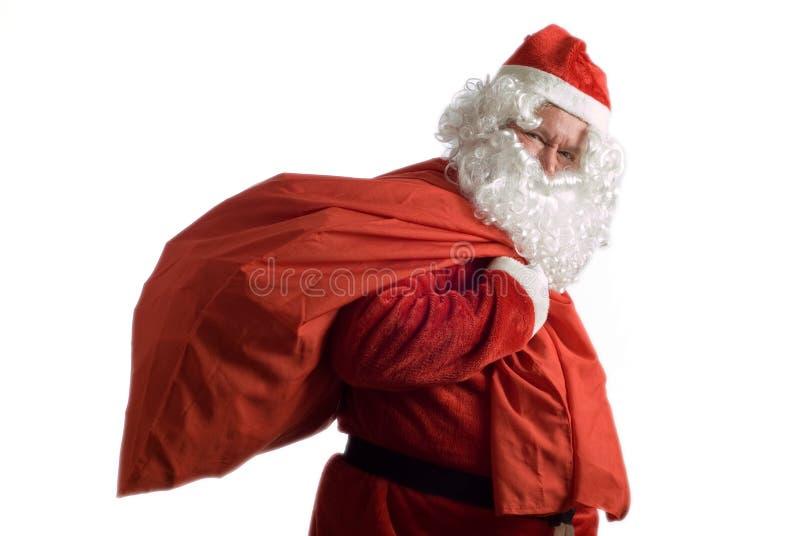 Kerstman en de zak van stellen voor royalty-vrije stock foto