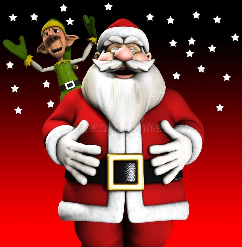 Kerstman En Elf Royalty-vrije Stock Afbeelding