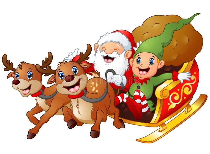 Kerstman en elfbeeldverhaal het berijden in sleear en giftzak met rendier twee vector illustratie