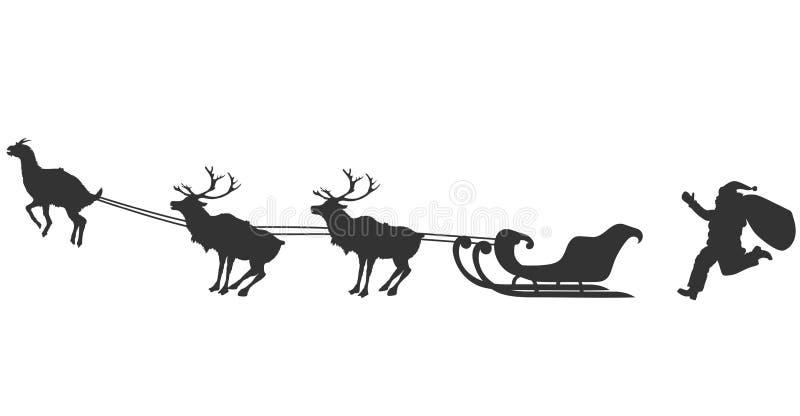Kerstman en geit stock illustratie