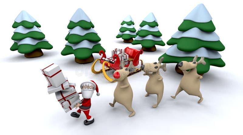 Kerstman en giften royalty-vrije illustratie