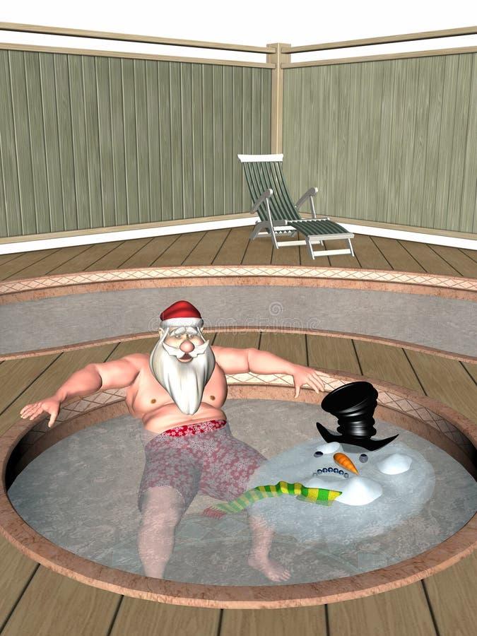 Kerstman en Ijzige Hete Ton vector illustratie