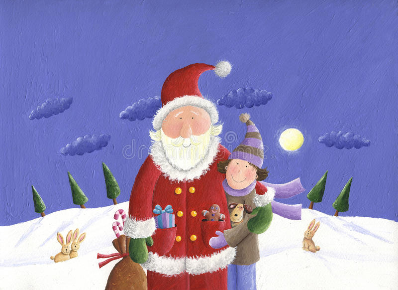Kerstman en jong geitje vector illustratie
