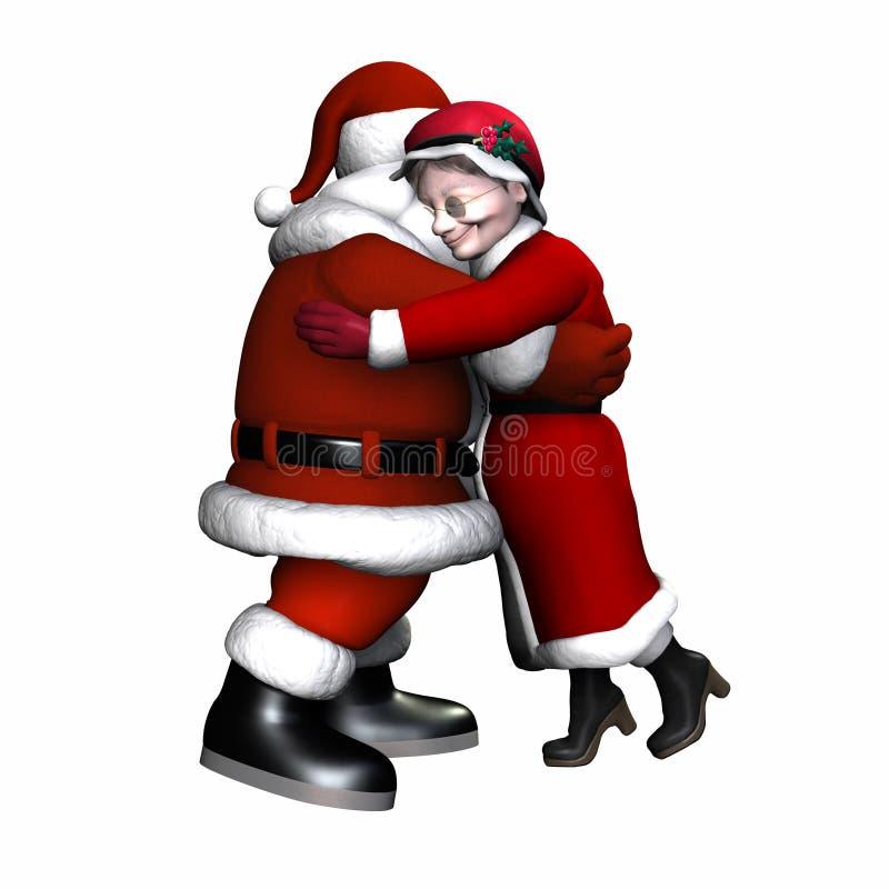 Kerstman en Mevr. Claus Geïsoleerdt Hugging - vector illustratie
