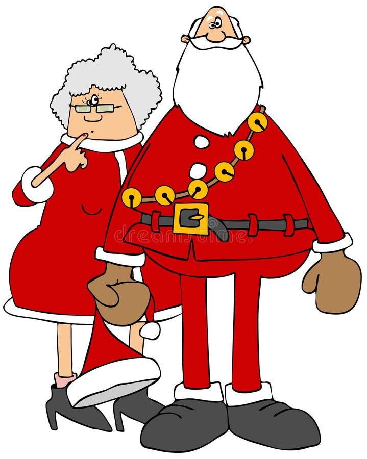 Kerstman en ornamenten Mrs claus stock illustratie