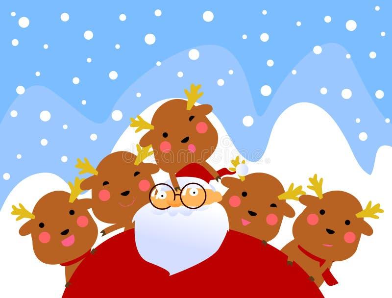 Kerstman En Rendier Die Pret Hebben Royalty-vrije Stock Fotografie