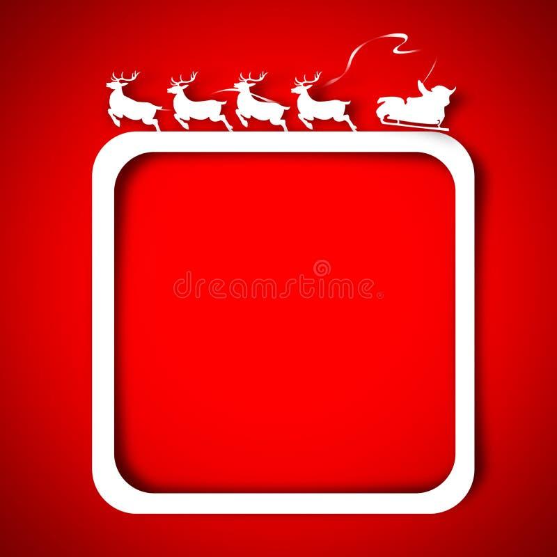 Kerstman en Rendier over rood vector illustratie