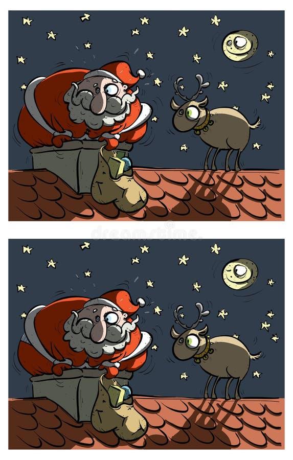 Kerstman en Rudolf Differences Visual Game royalty-vrije illustratie