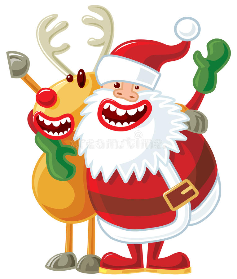Kerstman en Rudolph vector illustratie