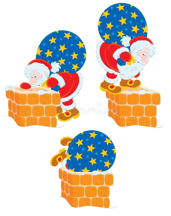 Kerstman en schoorsteen royalty-vrije illustratie