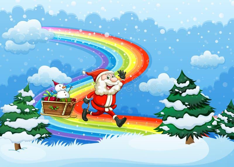Kerstman en zijn ar die bij de regenboog lopen vector illustratie