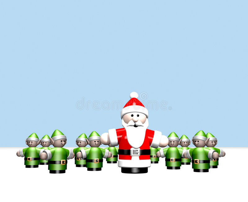 Kerstman en zijn kleine helpers bij Arctica vector illustratie