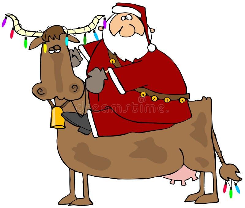 Kerstman en Zijn Koe van Kerstmis vector illustratie
