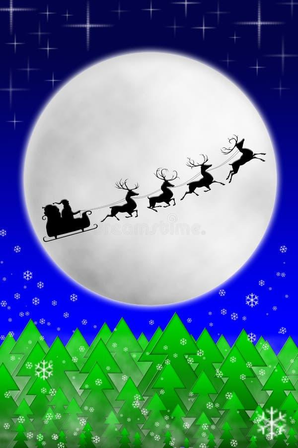 Kerstman En Zijn Rendieren Die Tegen Maan Berijden Stock Afbeelding