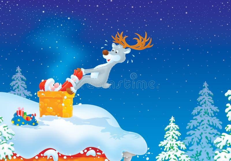 Kerstman gekregen die in schoorsteen wordt geplakt stock illustratie