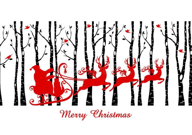 Kerstman in het bos van de berkboom, vector stock illustratie
