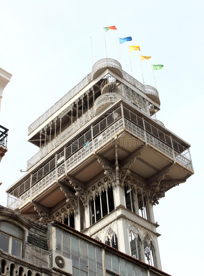 Kerstman Justa of Carmo Lift in Portugees Lissabon royalty-vrije stock foto