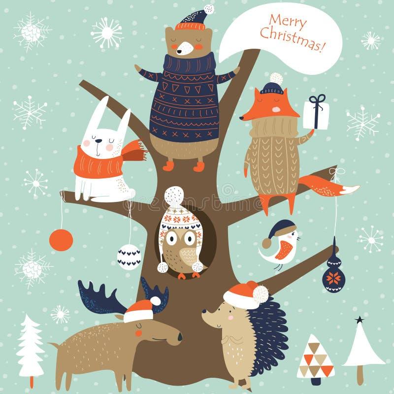 Kerstman Klaus, hemel, vorst, zak royalty-vrije stock foto's