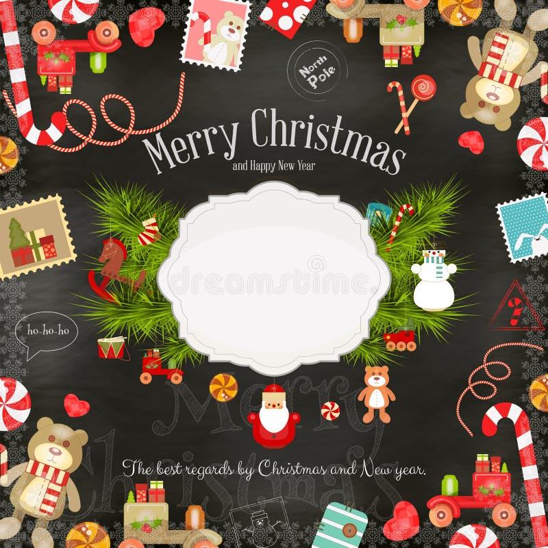 Kerstman Klaus, hemel, vorst, zak vector illustratie
