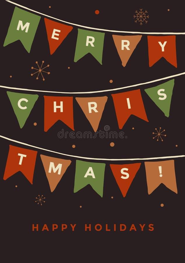 Kerstman Klaus, hemel, vorst, zak Dag van de Stadsbanners vector illustratie