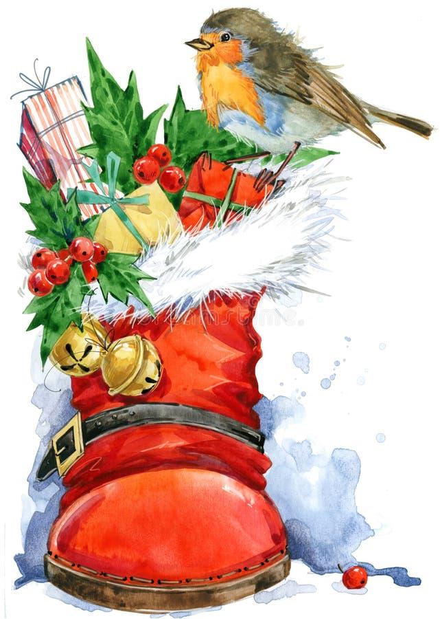 Kerstman Klaus, hemel, vorst, zak De waterverf van de Kerstmisvogel vector illustratie