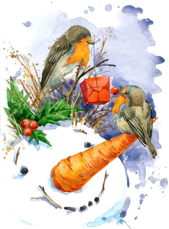 Kerstman Klaus, hemel, vorst, zak De waterverf van de Kerstmisvogel royalty-vrije illustratie