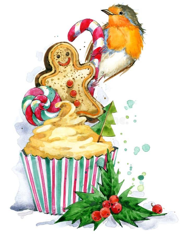 Kerstman Klaus, hemel, vorst, zak De waterverf van de Kerstmisvogel stock illustratie