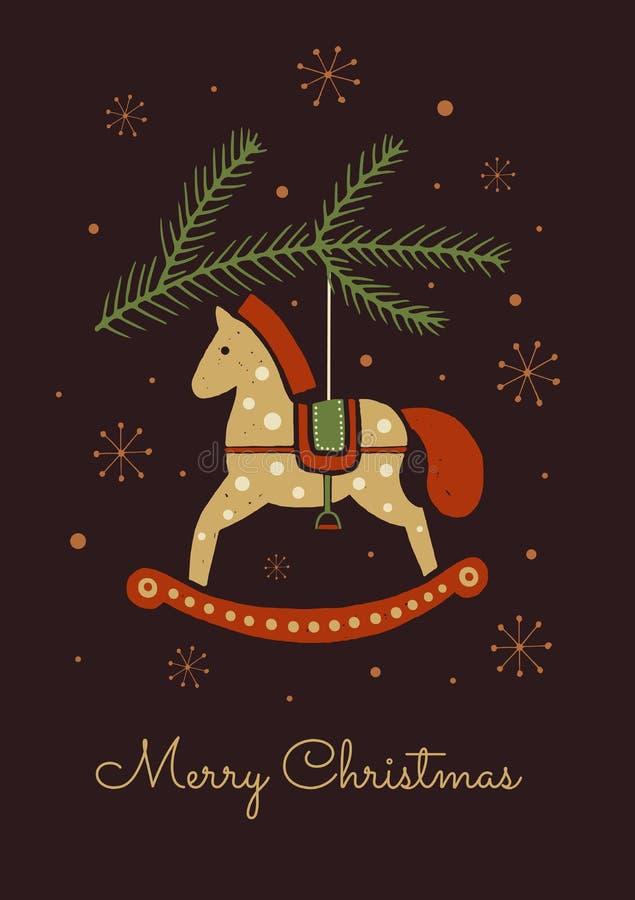 Kerstman Klaus, hemel, vorst, zak Een beeld van stuk speelgoed paard op Kerstboom stock illustratie