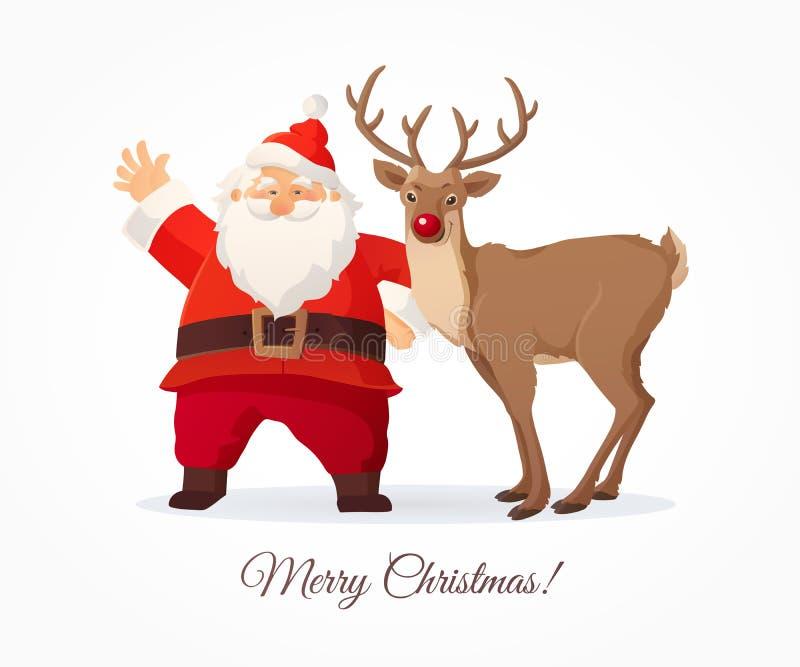 Kerstman Klaus, hemel, vorst, zak Grappig beeldverhaal Santa Claus en rood de neusrendier van Ruldolph op witte achtergrond vector illustratie