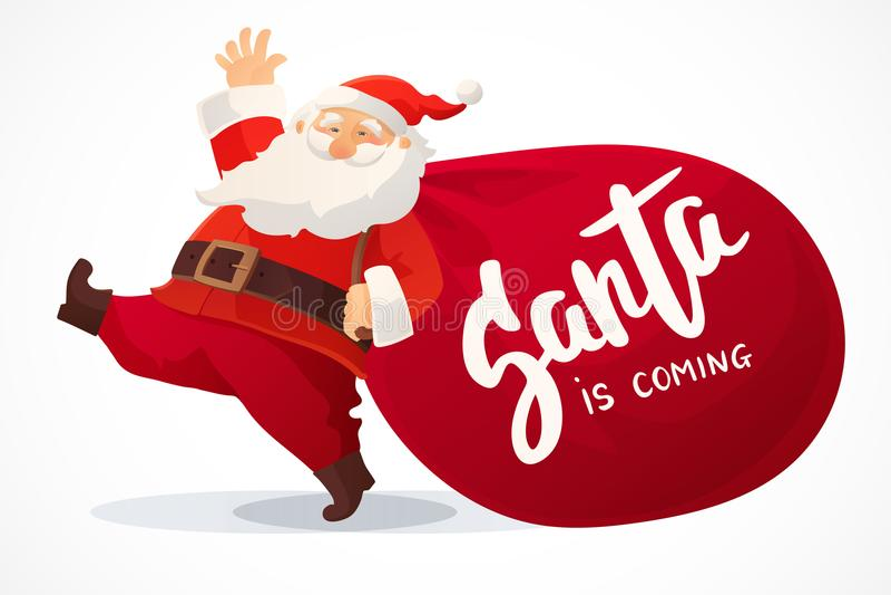 Kerstman Klaus, hemel, vorst, zak Het grappige beeldverhaal Santa Claus met reusachtige rode zak met stelt voor Hand getrokken te stock illustratie