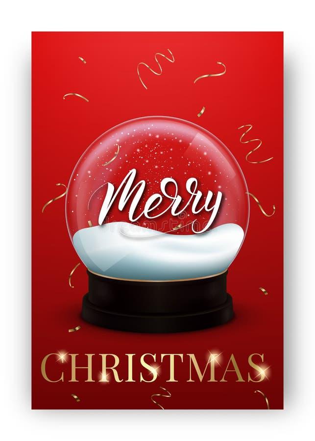 Kerstman Klaus, hemel, vorst, zak Het ontwerplay-out van de de wintervakantie met glanzende sneeuwbol en Vrolijke Kerstmis het va stock illustratie