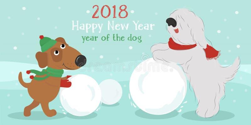 Kerstman Klaus, hemel, vorst, zak Honden met sneeuwbal vector illustratie